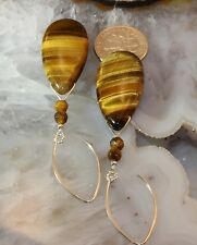 925 Sterling Silver Tiger's Eye Chatoyant Gemstone Earrings Drop/Dangle Joy's
