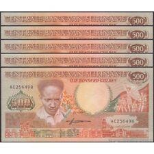 TWN - SURINAME 135b - 500 Gulden 9/1/1988 UNC Prefix AC DEALERS x 5