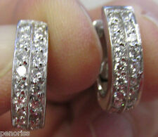High Quality 1.00 ctw  Diamond Hoop Earrings 18k White Gold  B&M    Make Offer