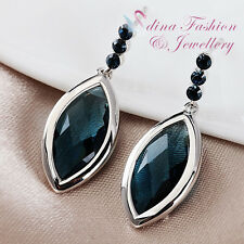 18K White Gold Filled Swarovski Element Dark Aquamarine Diamond Shaped Earrings