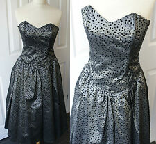 VTG Prom 80s in 50s Dress 8 Taffeta Evening Full Flared Polkadot Strapless Grey