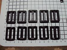 """10 x plastique noir delrin 3 bar slides BOUCLES pour Sangle 25mm """"P"""""""