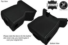 WHITE STITCH STEERING SHROUD LEATHER SKIN COVER FITS LAND ROVER DEFENDER 07-15