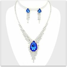 TEARDROP FRINGE  BRIDAL PROM RHINESTONE CRYSTAL STATEMENT NECKLACE & EARRING SET