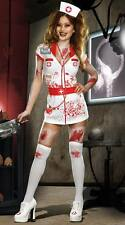 WOMENS LADIES MENTAL ZOMBIE HALLOWEEN NURSE COSTUME FANCY DRESS PARTY OUTFIT