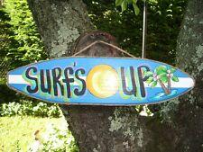SURF'S UP TROPICAL DECORATIVE SURFBOARD ART DECOR. KIDS ROOM SIGN PLAQUE