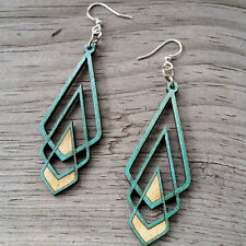CHEVRON DECO Green Tree Jewelry TEAL laser-cut wood earrings made-in-USA 1039