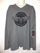 mens rich yung society  V-neck L/S t-shirt 4XL nwt gray flocked