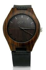 MEN'S BAMBOO WRIST WATCH ~ LEATHER STRAP ~ QUARTZ MOVEMENT ~ IN GIFT BOX