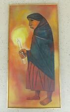 LARGE EDUARDO KINGMAN PAINTING OF PEASANT WOMAN CARRYING A CANDLE