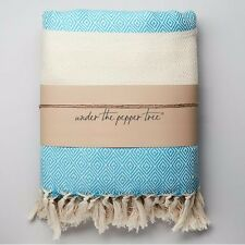 Extra Large Soft Turquoise Cotton Throw Blanket Thick Turkish Tassels Bed Cover