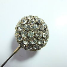 Wonderful Antique Edwardian Large Diamond Paste Hat Pin Fancy Disco Ball Shape