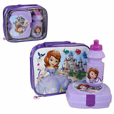 Insulated Raised Front Lunch Bag, Snack Box Bottle - Sofia the First