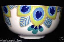 "STEPHANIE RYAN 2014 PAVO PEACOCK COUPE BOWL 5 1/2"" FEATHERS BLUE GREEN & GOLD"
