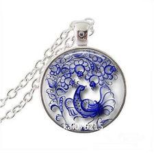 Vintage Phoenix Cabochon Tibetan silver Glass Chain Pendant Necklace