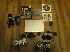 SONY PLAYSTATION 2 slim PS2 CONSOLE BUNDLE LOT 2 CONTROLLERS 90001 MEMORY SILVER