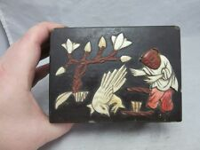 Japanese wood lacquer box. Child playing w/ bird