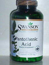 PANTOTHENIC ACID 250MG ADRENALINE PRODUCTION CARBOHYDRATE METABOLISM 250 CAPSULE