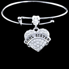 Soul Sister crystal heart Bracelet sole Best jewelry gift for your better half