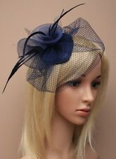 Large Navy Beak Clip Hat Fascinator Weddings Ladies Day Race Royal Ascot
