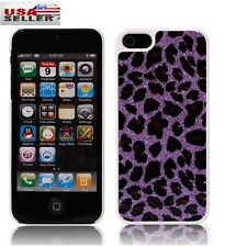 Purple Leopard Leather Skin Hard Plastic PC Case for iPhone 5