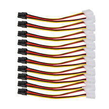 10pcs 4 Pin IDE Y Molex to 6 Pin PCI-E Power Adapter Cable For Video Card 15 cm