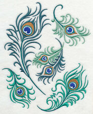PEACOCK FEATHER MEDLEY UNIQUE SET OF 2 BATH HAND TOWELS EMBROIDERED BY LAURA