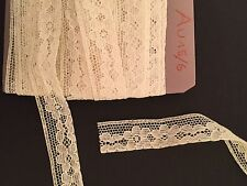 "Vintage 1940' French Lace Trim White Cotton Old Stock 3 Yard X 5/8"" Excellent"