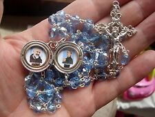 St Padre Pio & St Gemma Galgani COMBO RELIC locket rosary with engraved locket
