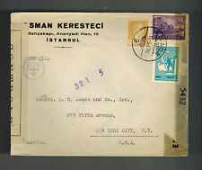 1945 Istanbul Turkey Dual Censored commercial cover to USA