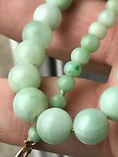 Antique Victorian Carved Chinese Apple Green Jade Necklace 9ct Gold Clasp 59.2g