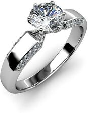 RM Jewellers 92.5 Sterling Silver American Diamond Princess Ring For Women