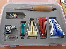 STURDY BOX of BINDER FOOT BIAS TAPE MAKER UTILITY AWL SET for QUILTING SEWING