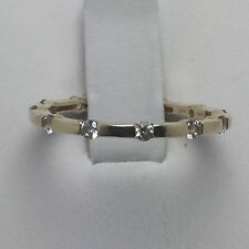 14K YELLOW GOLD DIAMONIQUE CZ  STACK  RING, SIZE 7
