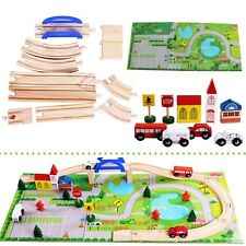 Well 40PCS Urban Track Train Wooden Set Toy Rail Overpass Adult Kids BrioToys