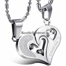 """"""" I Love You"""" Matching Heart Lovers Couple Pendant Stainless Steel Necklace Gift"""