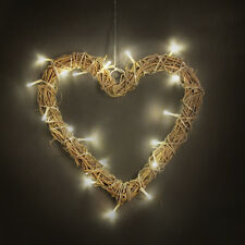 Battery Powered Wicker Rattan Heart LED Fairy Lights Wall Plaque Sign Decoration