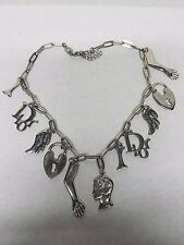 Authentic Christian Dior Charm Necklace Arm Bone Wing Head Heart Lock JD209