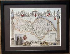 """OLD COUNTY Mappa Wall Art -12"""" x16"""", INCORNICIATO Yorkshire del Nord Equitazione mappa"""
