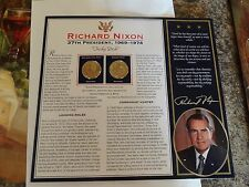 MINT ONE DOLLAR GOLD COIN SET RICHARD NIXON 37TH PRESIDENT NICE INFORMATION CARD