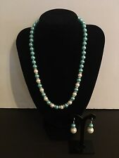 NEW8MM SEAFOAM Green/WT South Sea Shell Pearl necklace earrings set AAA Grade-P7