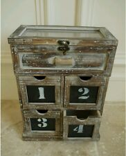Shabby Chic Vintage Piccolo 4 Disegna Armadietto con GLASS Top portagioie Storage