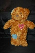 "Hallmark Patchwork Brown teddy Bear 11"" Plush Stuffed Animal Lovey No Voice Toy"