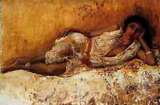 Weeks Edwin Lord Moorish Girl Lying On A Couch A3 Box Canvas