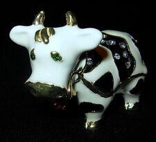 Milk Dairy Cow Bejeweled Austrian Crystal Enamel Trinket