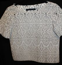 ZARA LASER CUT LEATHER LIKE CROP TOP BEIGE SIZE XS