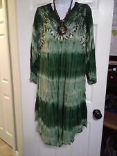 PLUS SIZE 1X 2X 3X ASYMMETRICAL EMBROIDER TIE DYE TUNIC TOP BLOUSE DRESS COVER U