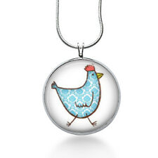 Chicken Necklace- blue gingham- farm, chick, cute jewelry, statement necklace