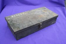 "Green Metal Box 13x6x3"" latches shut screw holes vintage tools storage"