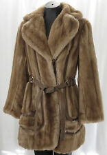 Tissavel Country Pacer Small Light Brown Beige Faux Fur Mink Coat Vintage France